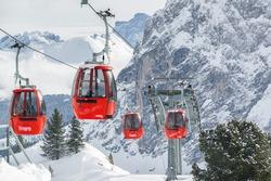 Cable cars at Dolomites of Colfosco near Val di Fassa, Trentino-Alto-Adige region, Italy.