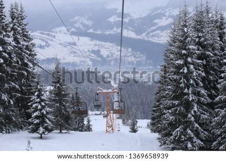 Cable chair in Vatra Dornei, Romania