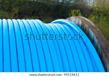 cable drum with blue cable