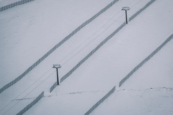 Cable from ski chair lift before the season has opened, Navacerrada