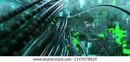 Cable in server room (3D Rendering)