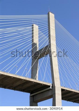 Cable Stay concrete Bridge against blue sky