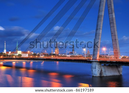 Cable-stayed bridge across Daugava river and panorama of Riga, Latvia.