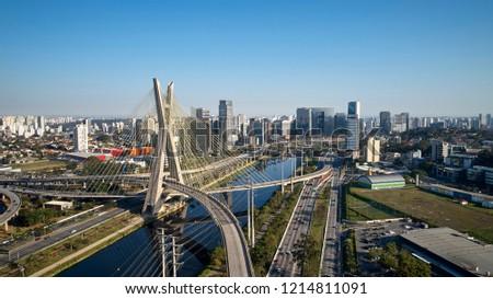 Cable-stayed bridge at Sao Paulo city. Brazil. Aerial view of Octavio Frias de Oliveira Bridge in Sao Paulo city. Estaiada bridge in Sao Paulo city.