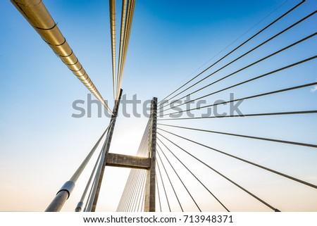 Cable-stayed bridge over Parana river, Brazil. Border of Sao Paulo and Mato Grosso do Sul states #713948371