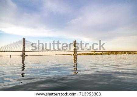 Cable-stayed bridge over Parana river, Brazil. Border of Sao Paulo and Mato Grosso do Sul states #713953303