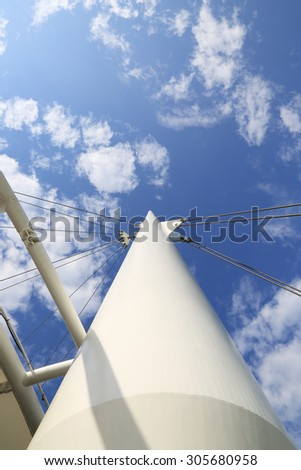Cable stayed pole under blue sky #305680958