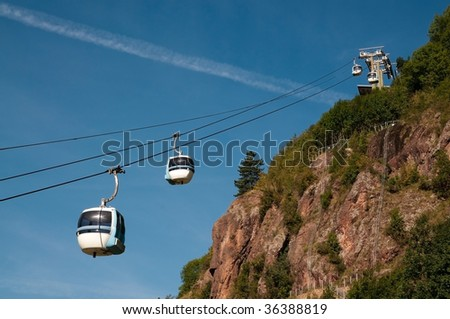 Cable supporting a gondola of an aerial tramway. Cermis is a mountain of the Lagorai group in eastern Trentino, in the comune of Cavalese.