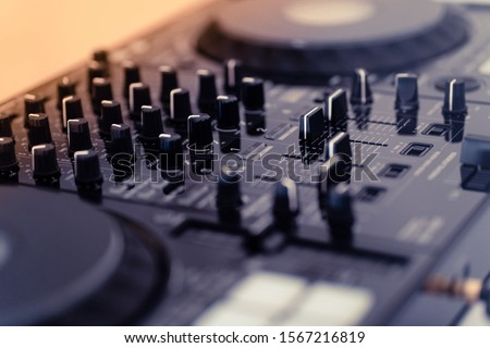 Cable to connect professional DJ midi controller to audio mixer.Concert equipment for home party.Disc jockey technology to mix digital music tracks.RCA audio cables