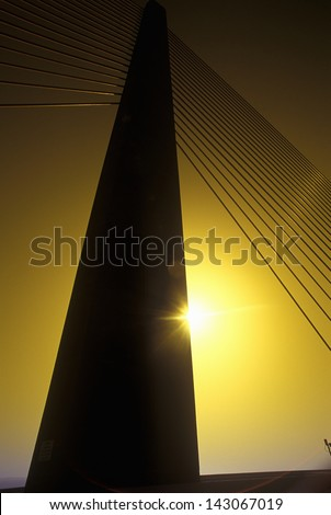 Cable tower of the Tampa Sunshine Skyway Bridge at sunset, Tampa Bay, Florida
