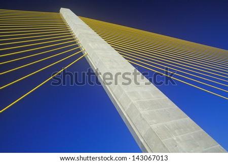 Cable tower of the Tampa Sunshine Skyway Bridge at Tampa Bay, Florida