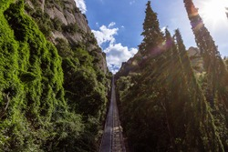 Cable tramway to the top of the mountain to the observation deck of Santa Maria de Montserrat Abbey