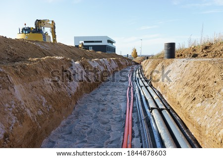 Cable trench in the new industry area Сток-фото ©