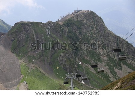 Cable-way in the mountain in the capital of the winter Olympic games 2014