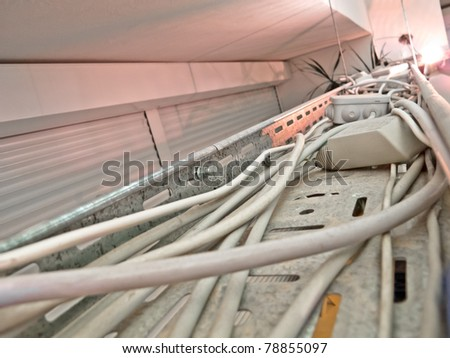 Cables on a metal rail