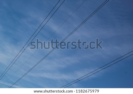 Cables on sky background #1182675979
