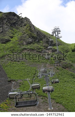 Cableway in the mountain in the capital of the winter Olympic games 2014