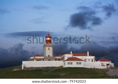 Cabo da Roca (Cape of Roca) lighthouse at dusk, this is the western extreme point of the European continent.