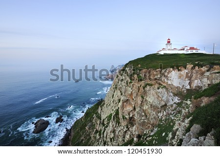 Cabo da Roca (Cape Roca) is a cape which forms the westernmost point of both mainland Portugal, mainland Europe and the Eurasian land mass. Sintra, Portugal
