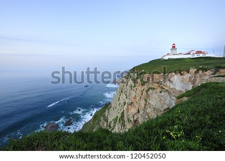 Cabo da Roca (Cape Roca) is a cape which forms the westernmost point of both mainland Portugal, mainland Europe and the Eurasian land mass, Sintra, Lisboa, Portugal