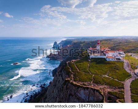 Cabo da Roca Lighthouse. Portuguese Farol de Cabo da Roca is most westerly European extent Foto stock ©