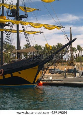 "Cabo San Lucas ""pirate"" ship at dock awaiting tourists.  Not all of the pirates are on board this vessel as they seek treasure in many different ways"