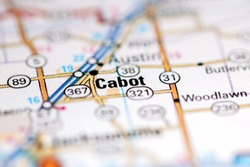 Cabot. Arkansas. USA on a geography map