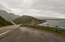 cabot trail, cape breton national park, nova scotia, canada. view upon an empty cabot trail on a bad weather day.