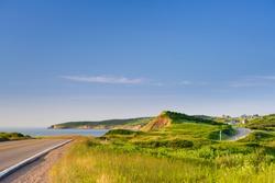 Cabot trail coastline in Cape Breton Island, Nova Scotia during the summer season.
