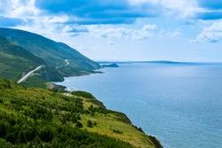 Cabot Trail scenic highway winding through Cape Breton Highlands National Park, Nova Scotia, NS, Canada