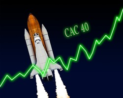 CAC 40 index chart up Paris stock exchange. Elements of this image furnished by NASA.