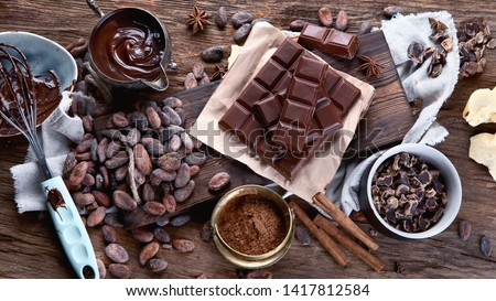 Cacao beans, powder, cacao butter,  chocolate bar and chocolate sauce on wooden background