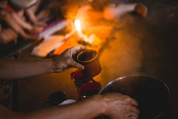 cacao ceremony with fire and smoke
