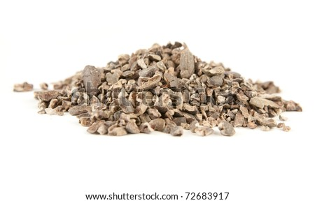 Cacao nibs isolated on white