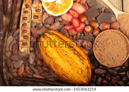 cacao pods, carob pods and dried fruits on wooden background #1453063214