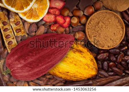 cacao pods, carob pods and dried fruits on wooden background #1453063256