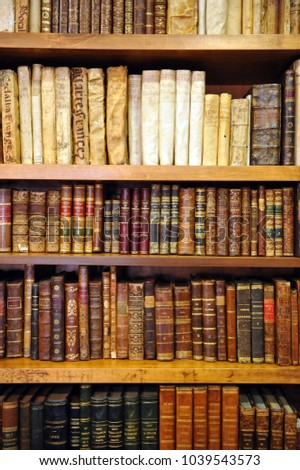 caceres spain june 10 2013 antique books bookshelves inside a bookstore - Antique Looking Bookshelves