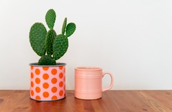 Cactus and mug in flowerpot on wood table. background hollow plant.