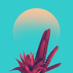Cactus duotone in vibrant bold gradient holographic colors. Concept art. Minimal surrealism.