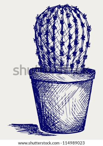 Cactus in desert. Doodle style. Raster version
