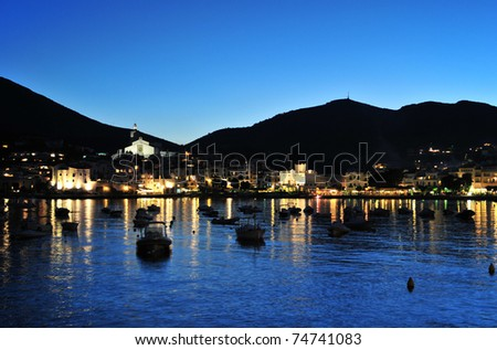 Cadaques after sunset at blue hour. The village of Salvador Dali, in Costa Brava, Gerona, Catalonia, Spain.