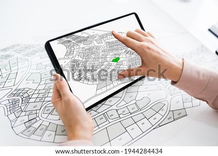 Cadastre Cartographic Building Map On Tablet Computer Сток-фото ©