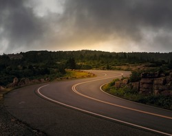 Cadillac Mountain road in Acadia National Park with curved road