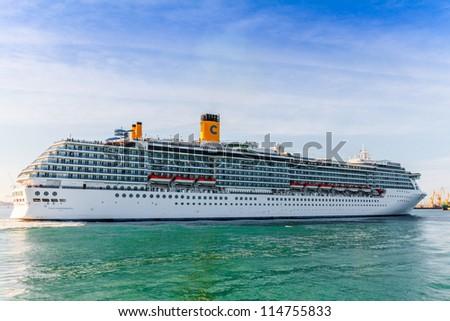 CADIZ, SPAIN - JUN 04: Grand-class cruise ship  Costa Mediterranea at the harbor of Cadiz on Jun 04, 2012 in Cadiz, Spain