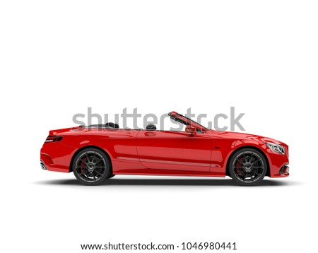 Cadmium red modern convertible luxury car - side view - 3D Illustration