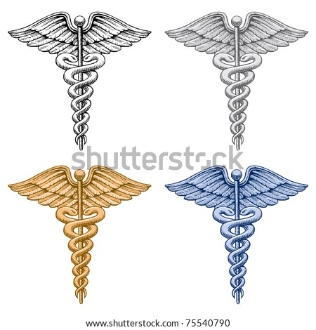 Caduceus Medical Symbol is an illustration of four versions of the Caduceus medical symbol. There is a black and white, silver, gold and blue version.