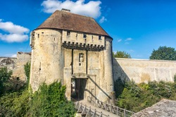 Caen, Calvados, Normandy, France. The watchtower with the drawbridge of the castle - fortress of William the conqueror(Le Chateau de Caen)