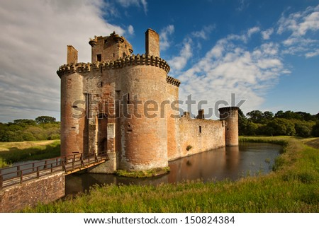 Caerlaverock Castle Dumfries And Galloway Scotland Is A Moated