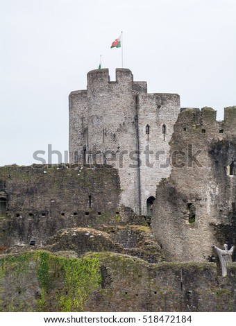 Caerphilly Castle, Cardiff, Wales, UK