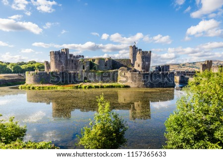 Caerphilly Castle in Caerphilly near Cardiff, Wales, UK